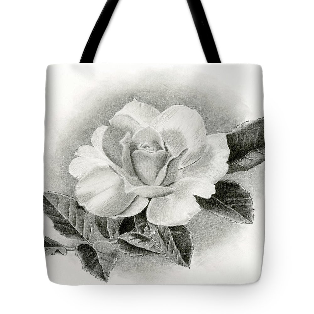 Rose Tote Bag featuring the drawing Vintage Rose by Sarah Batalka