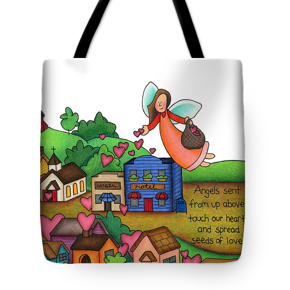 Angels Tote Bag featuring the drawing Seeds Of Love by Sarah Batalka