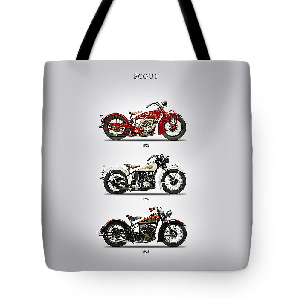 Indian Scout Tote Bag featuring the photograph Scout Trio by Mark Rogan