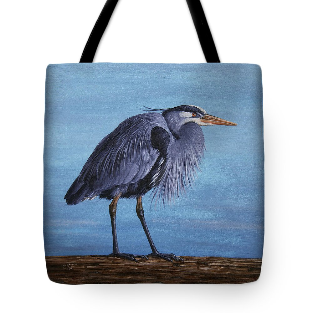 Bird Tote Bag featuring the painting Great Blue Heron by Crista Forest
