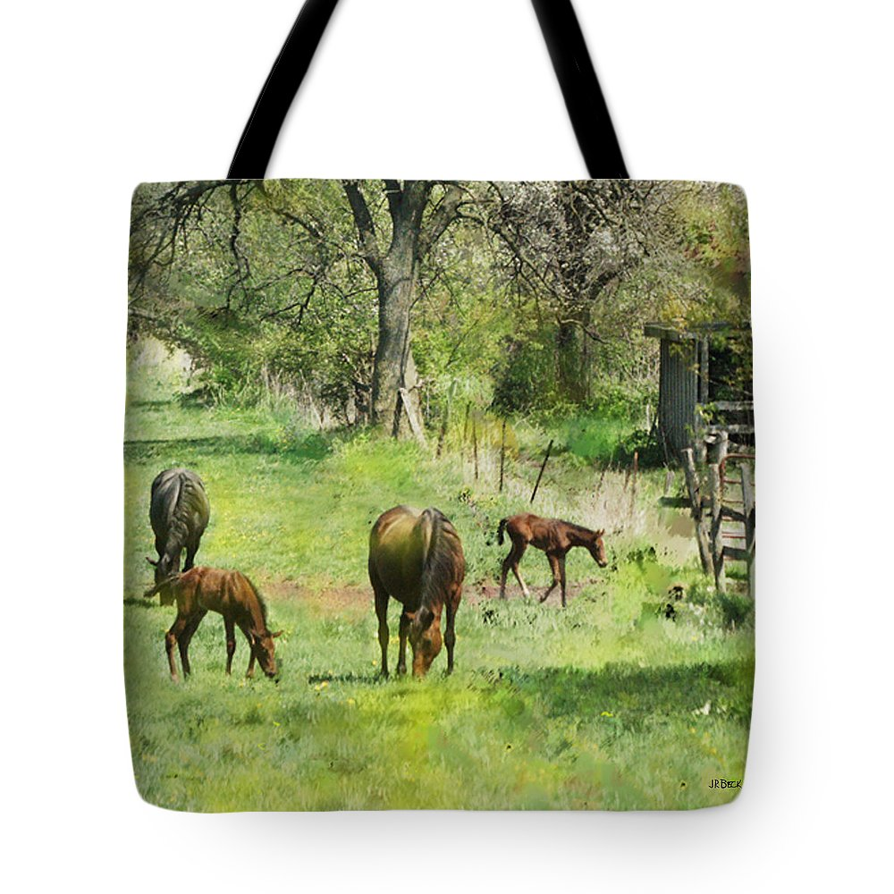 Spring Colts Tote Bag featuring the digital art Spring Colts by John Beck
