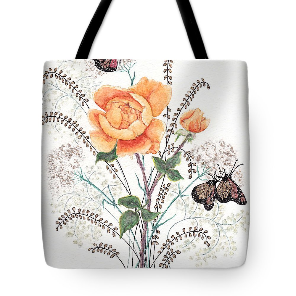 Roses Tote Bag featuring the painting As I Ride The Butterfly by Stanza Widen