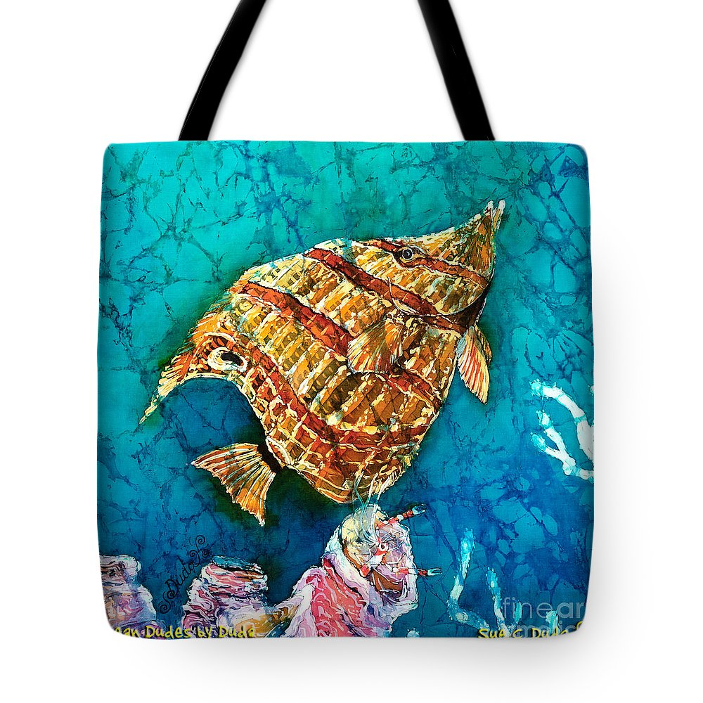 Beaked Butterflyfish Tote Bag featuring the painting Ascending by Sue Duda