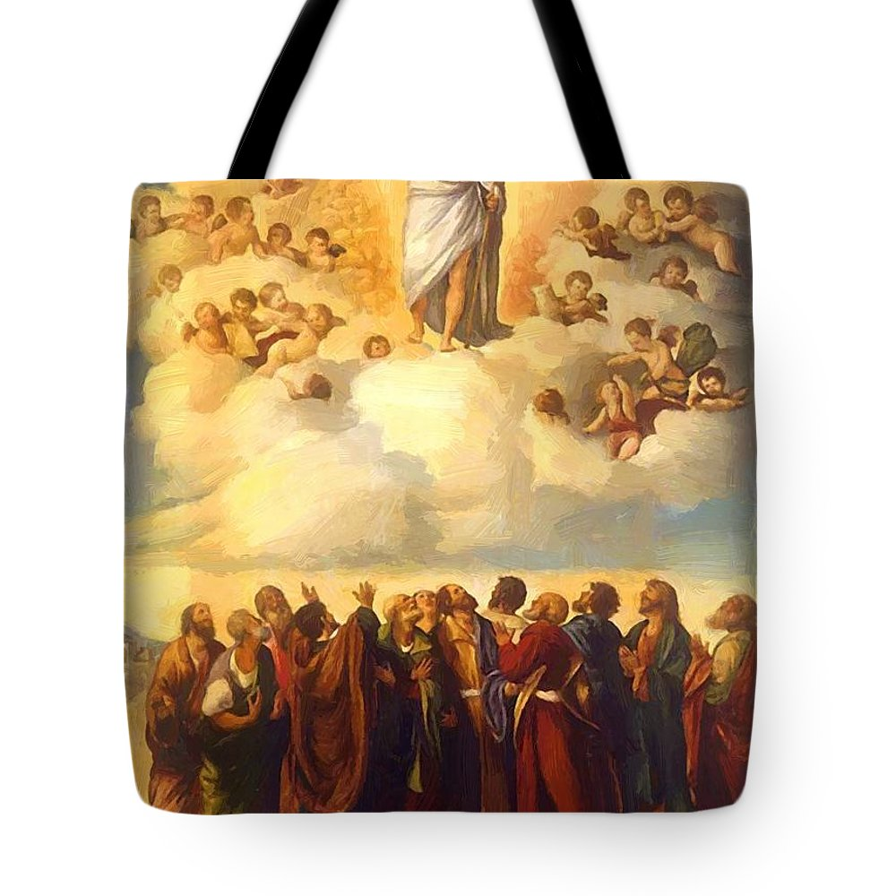 Ascension Tote Bag featuring the painting Ascension Of Christ by Dossi Dosso