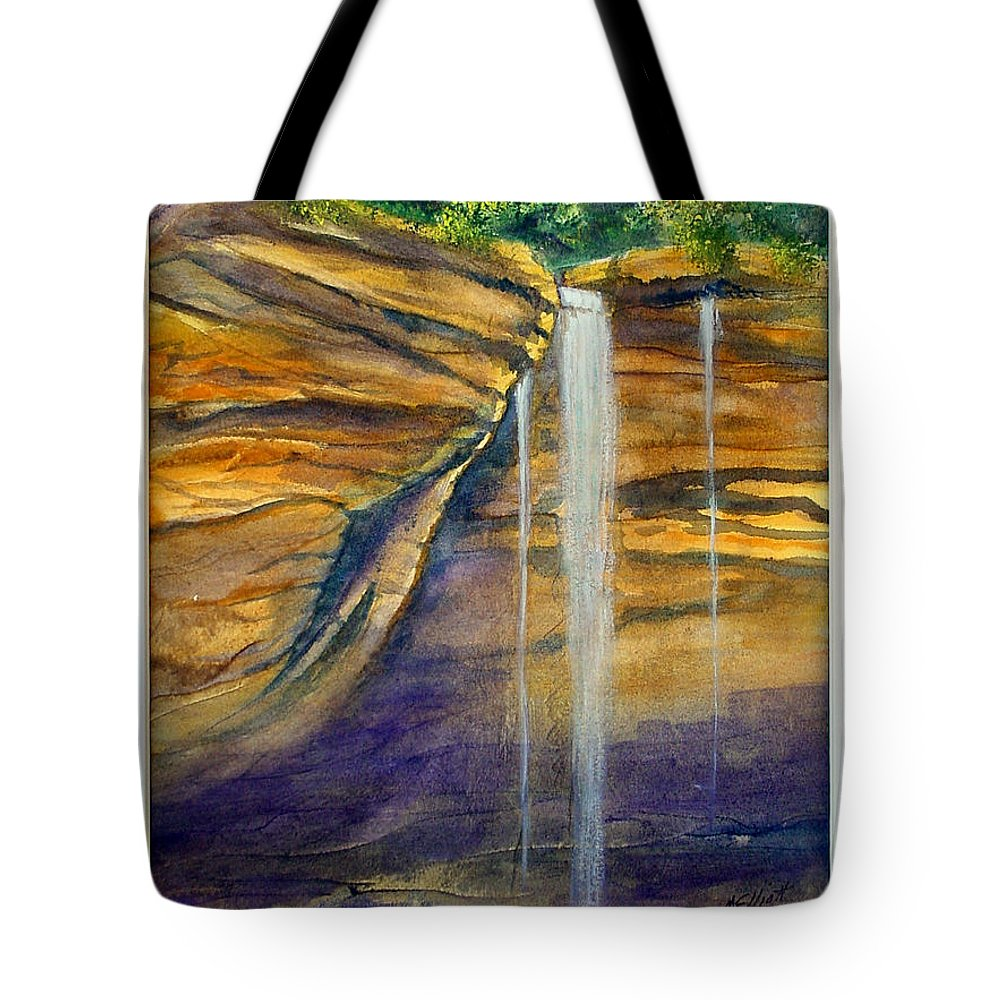 Landscape Tote Bag featuring the painting Ash Cave by Marsha Elliott