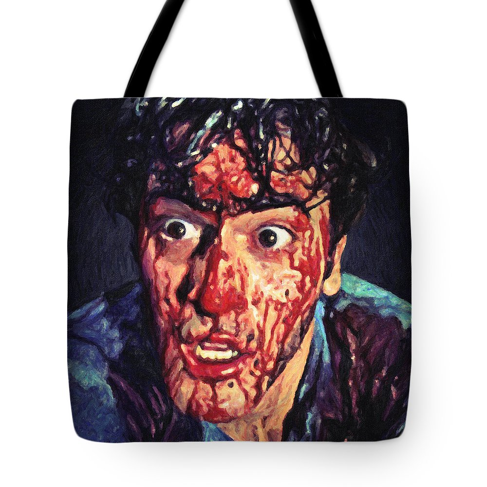Ash Williams Tote Bag featuring the painting Ash Williams by Zapista Zapista