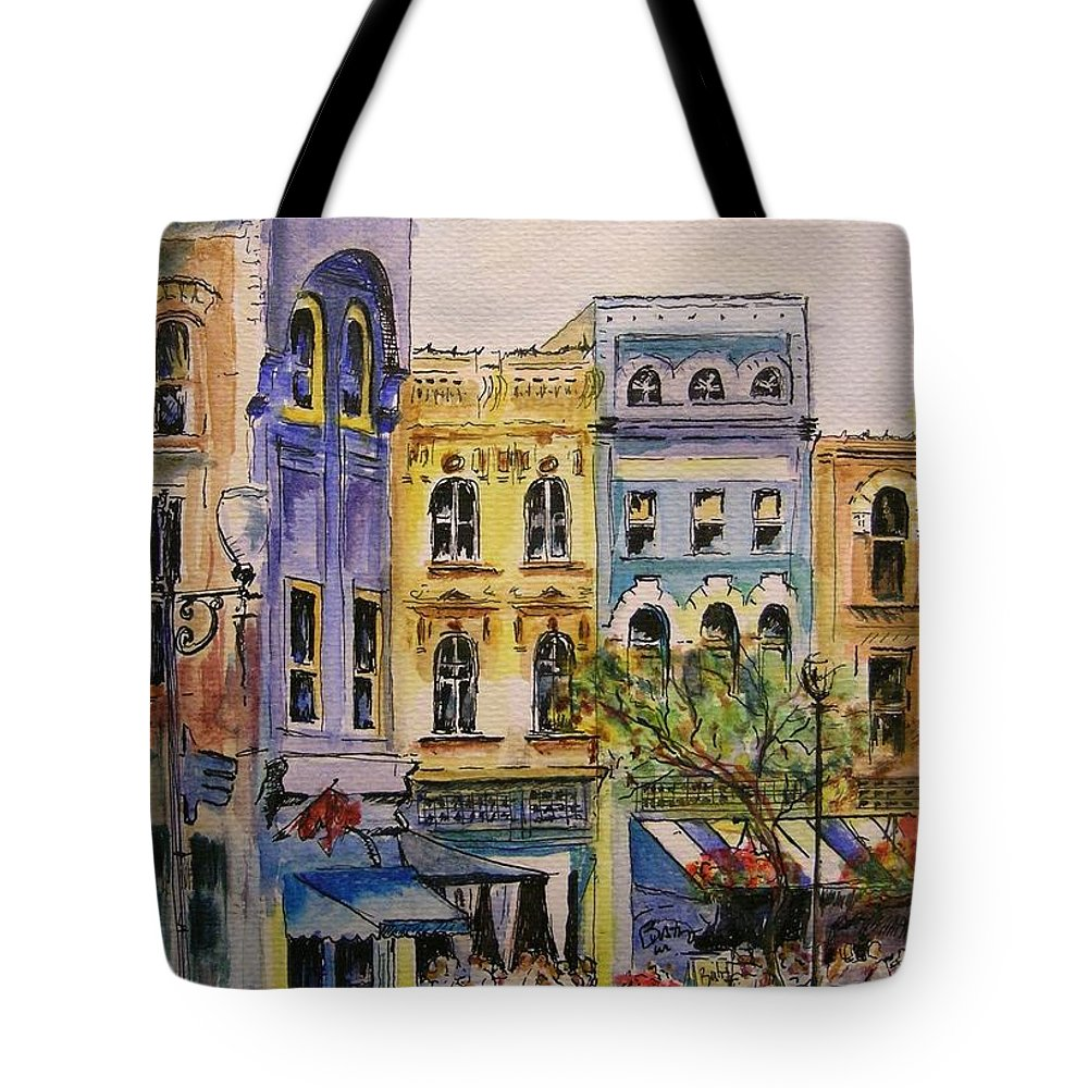 Townhouses Tote Bag featuring the painting Asheville by Lizzy Forrester