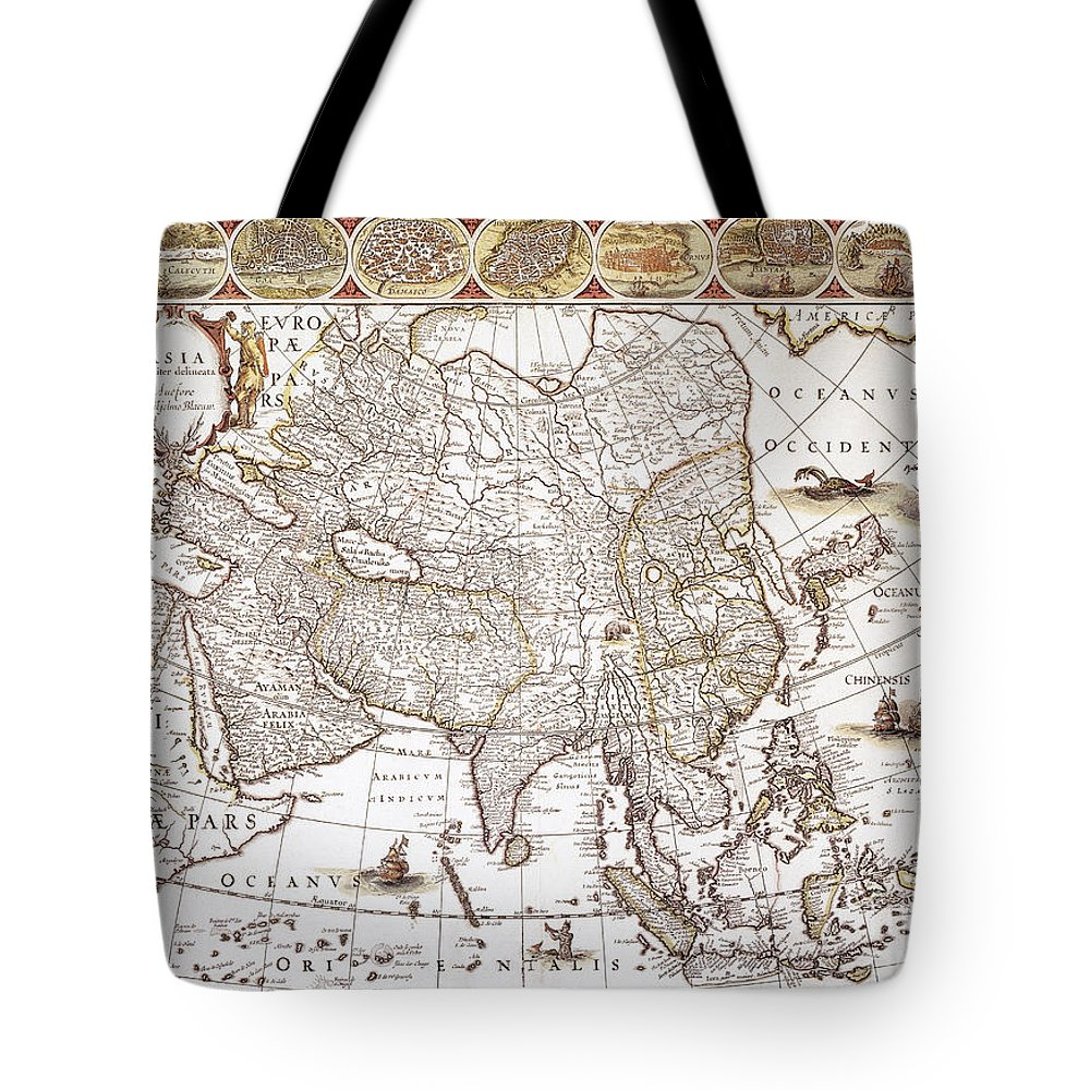 1618 Tote Bag featuring the photograph Asia: Map, C1618 by Granger