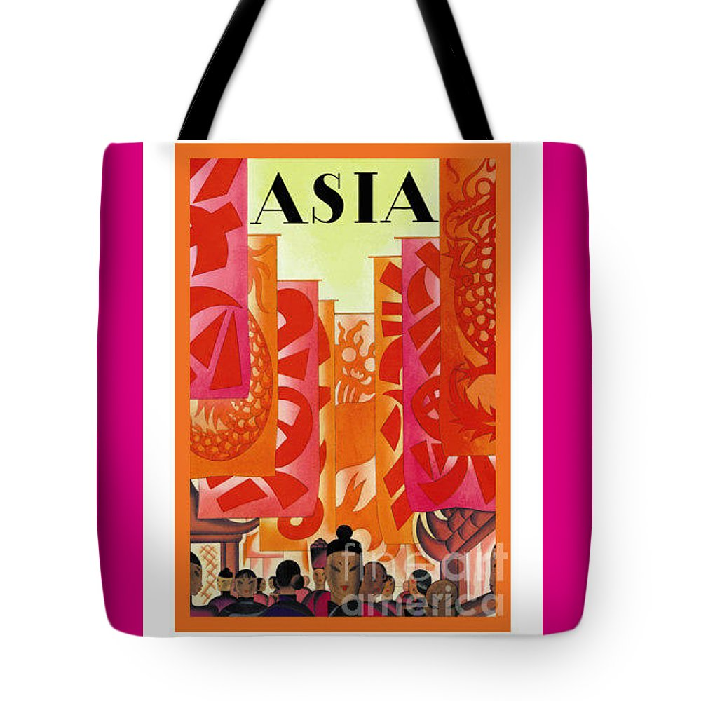 Vintage Tote Bag featuring the painting Asia by Nostalgic Prints