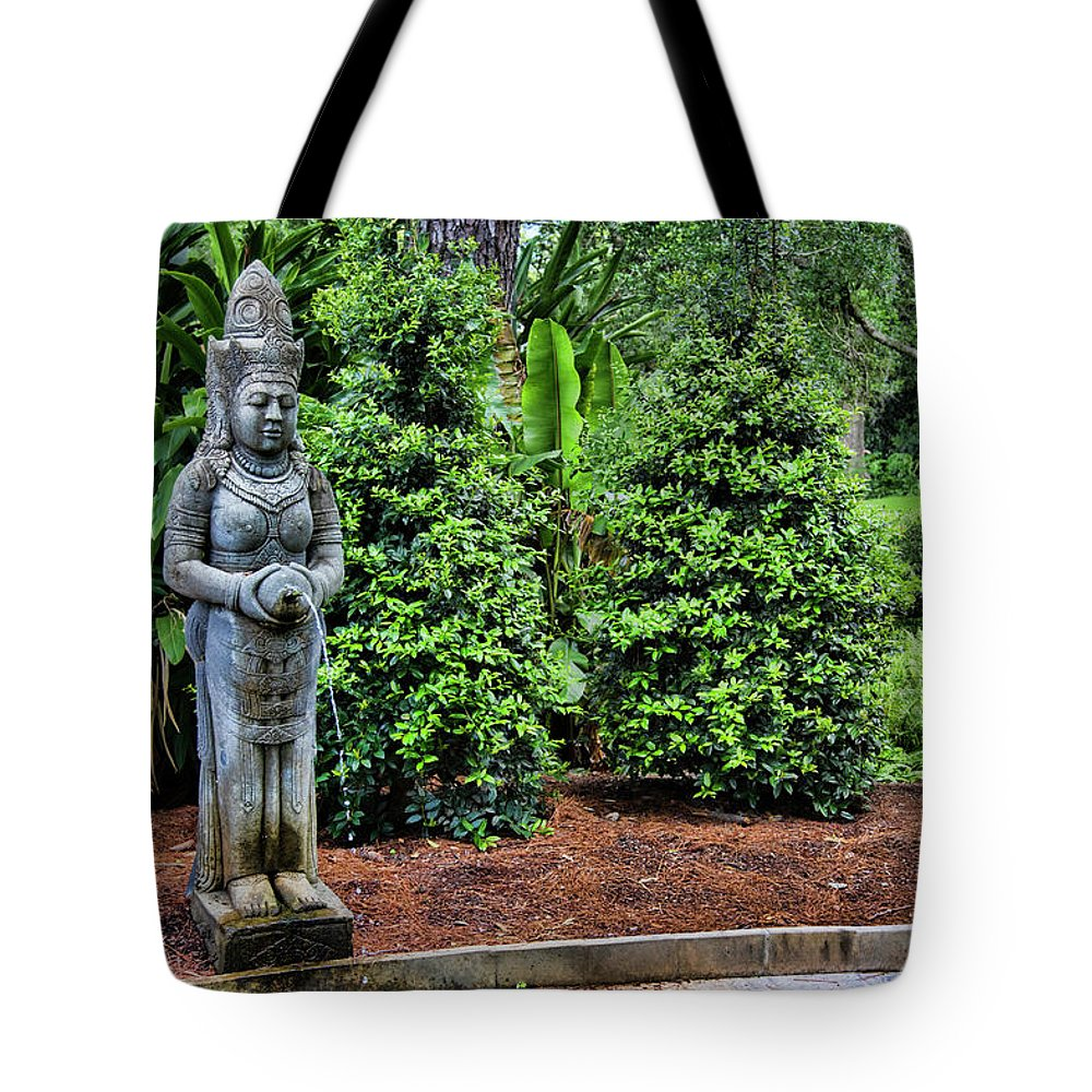 Landscape Tote Bag featuring the photograph Asian Statue Jefferson Island by Chuck Kuhn