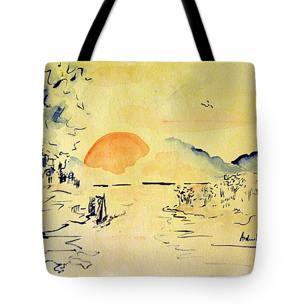 Asia Tote Bag featuring the painting Asian Sunrise by Andrew Gillette