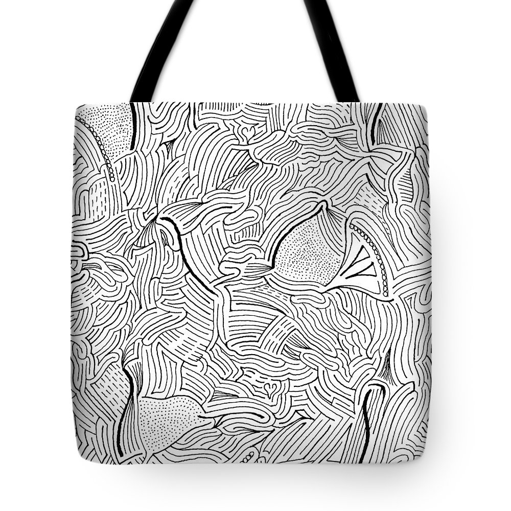 Mazes Tote Bag featuring the drawing Askance by Steven Natanson