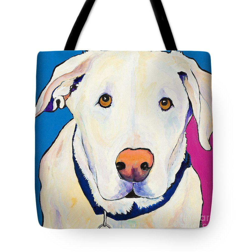White Lab Yellow Lab Animal Paintings Golden Eyes Square Format Dogs Pets Rescued Tote Bag featuring the painting Aslinn by Pat Saunders-White