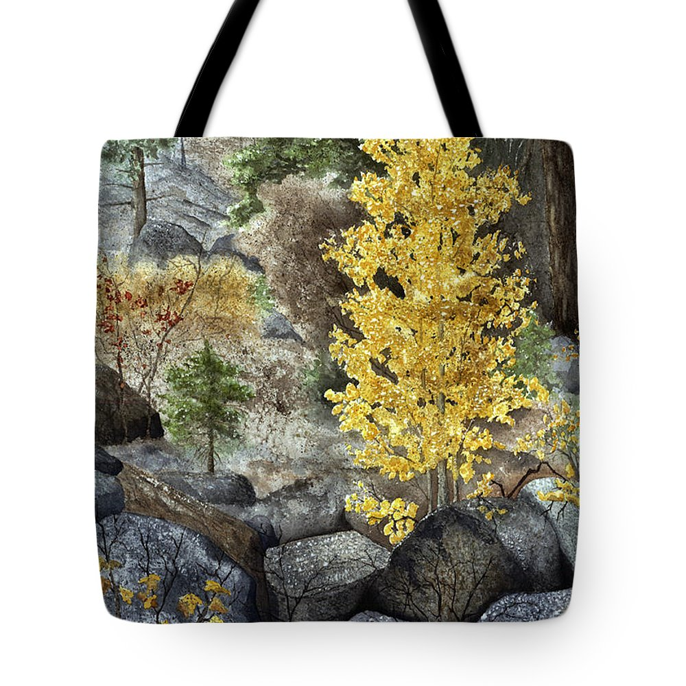 Autumn Tote Bag featuring the painting Aspen Gold by Mary Tuomi