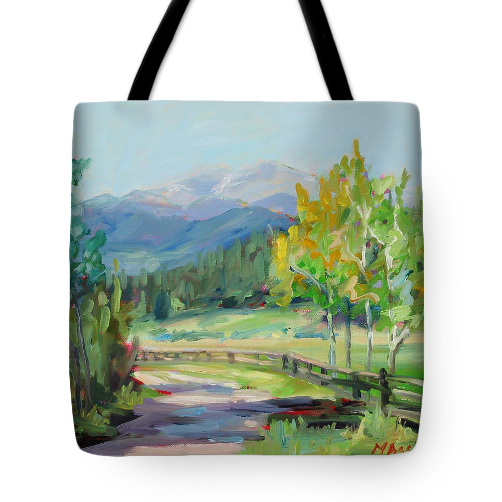 Rocky Mountains Tote Bag featuring the painting Aspen Lane by Marie Massey