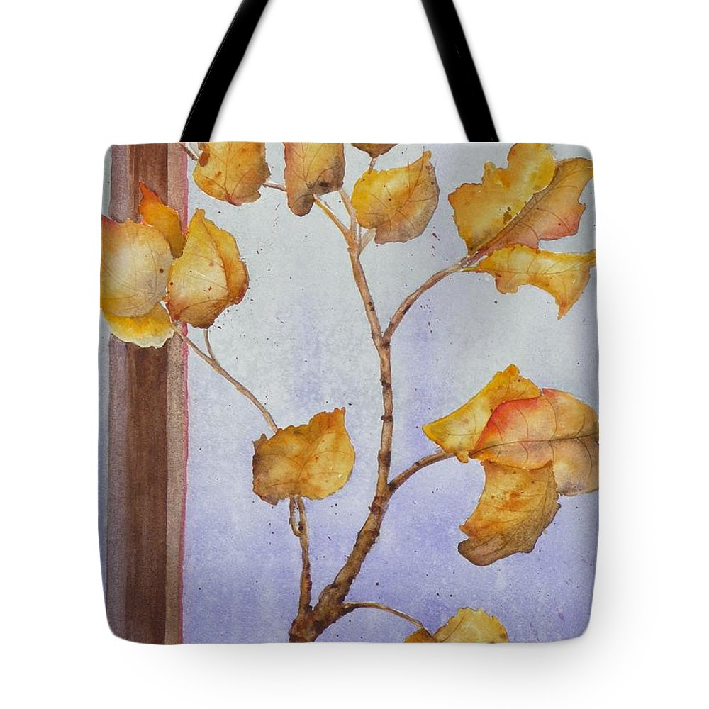Leaves Tote Bag featuring the painting Aspen by Ruth Kamenev