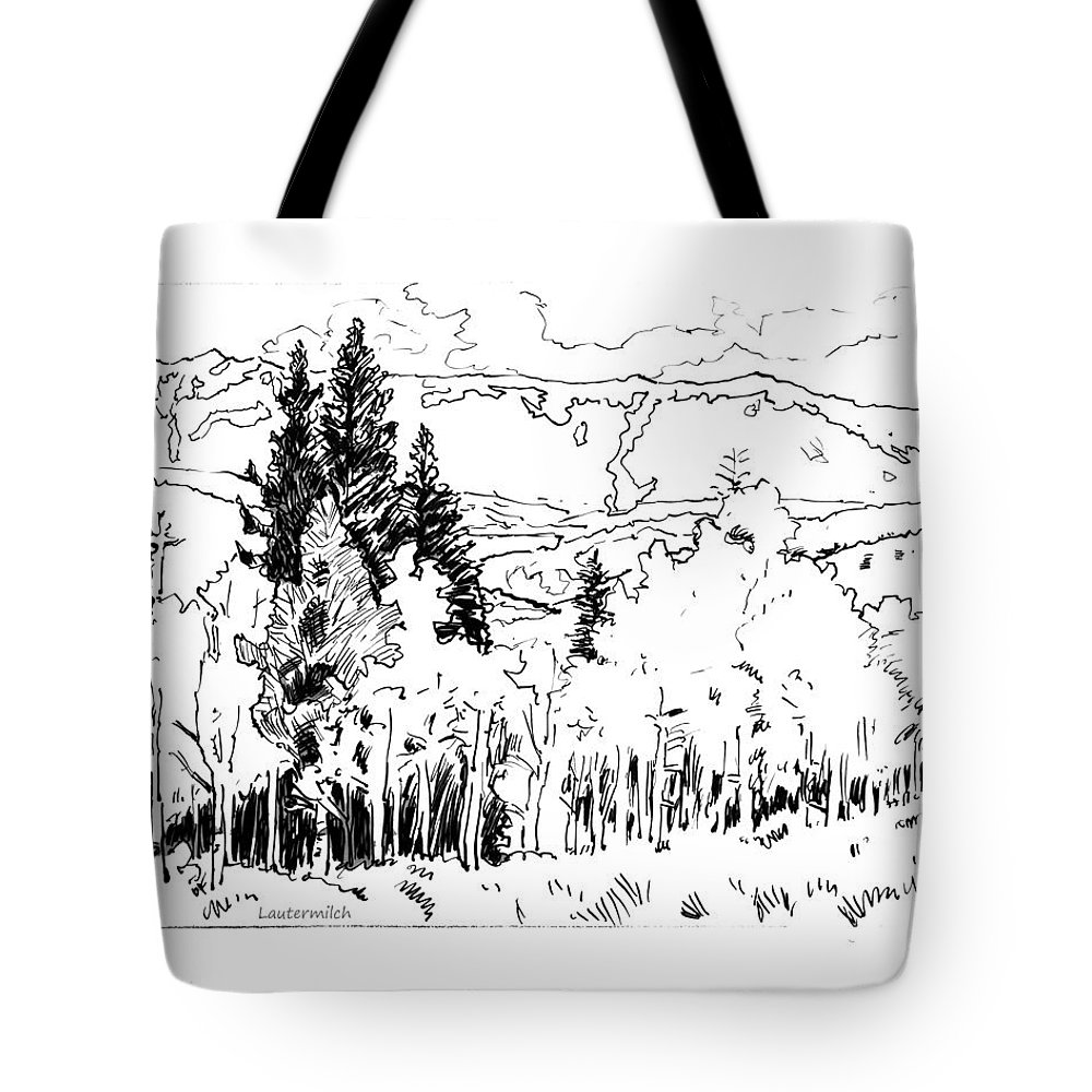 Aspens Tote Bag featuring the drawing Aspens Against the Evergreens by John Lautermilch