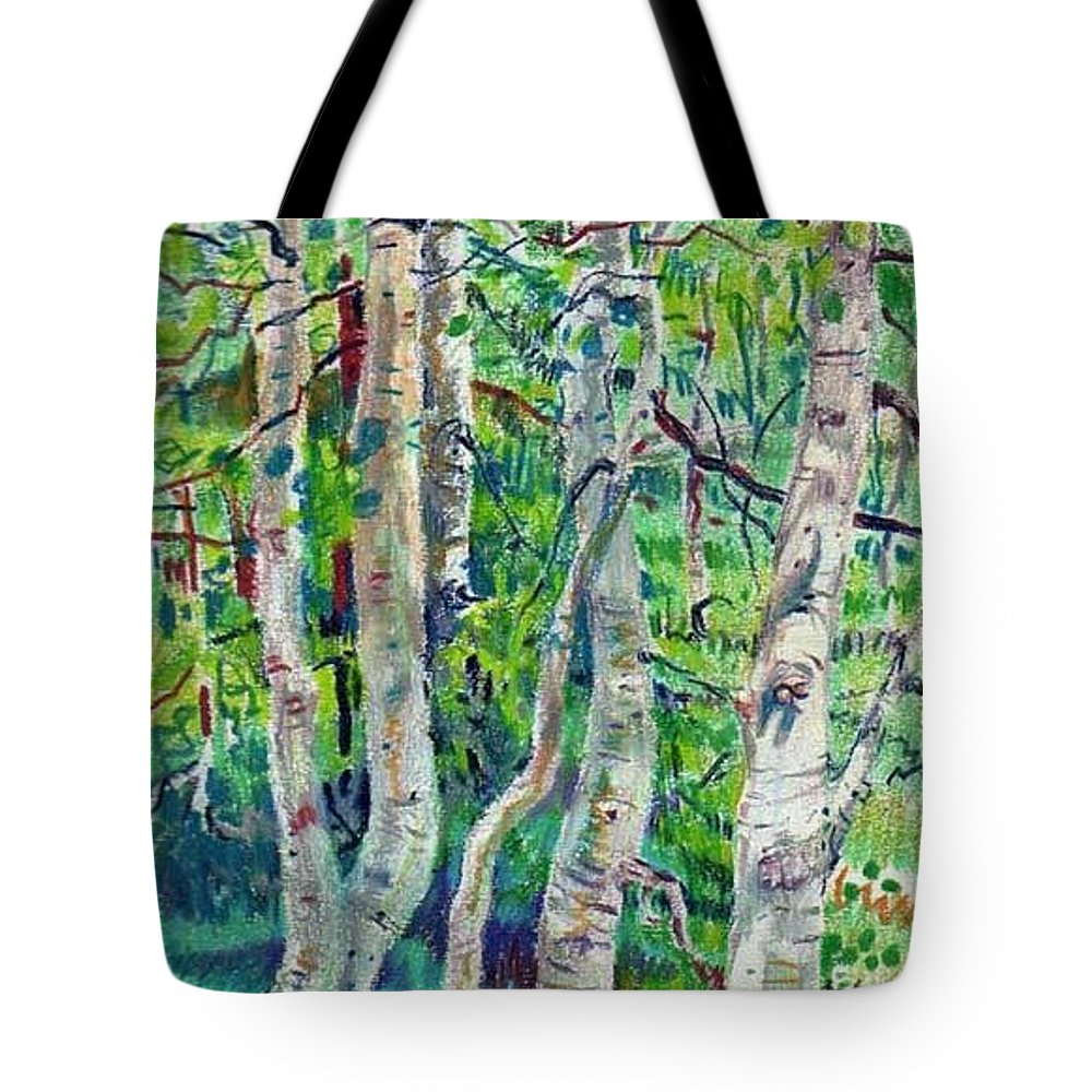 Aspens Tote Bag featuring the drawing Aspens by Donald Maier