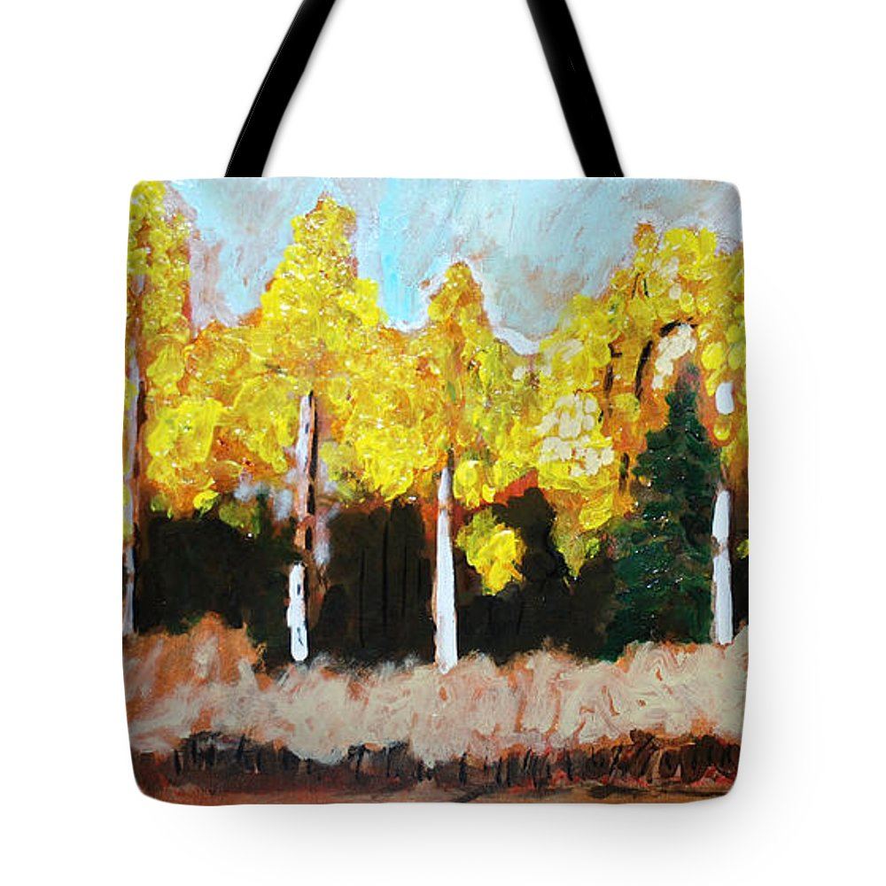 Fall Tote Bag featuring the painting Aspens by Kurt Hausmann