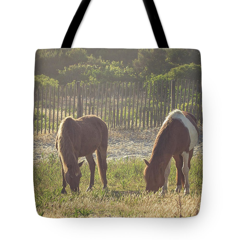Horse Tote Bag featuring the photograph Assateague Island Wild Ponies by Stephanie McDowell