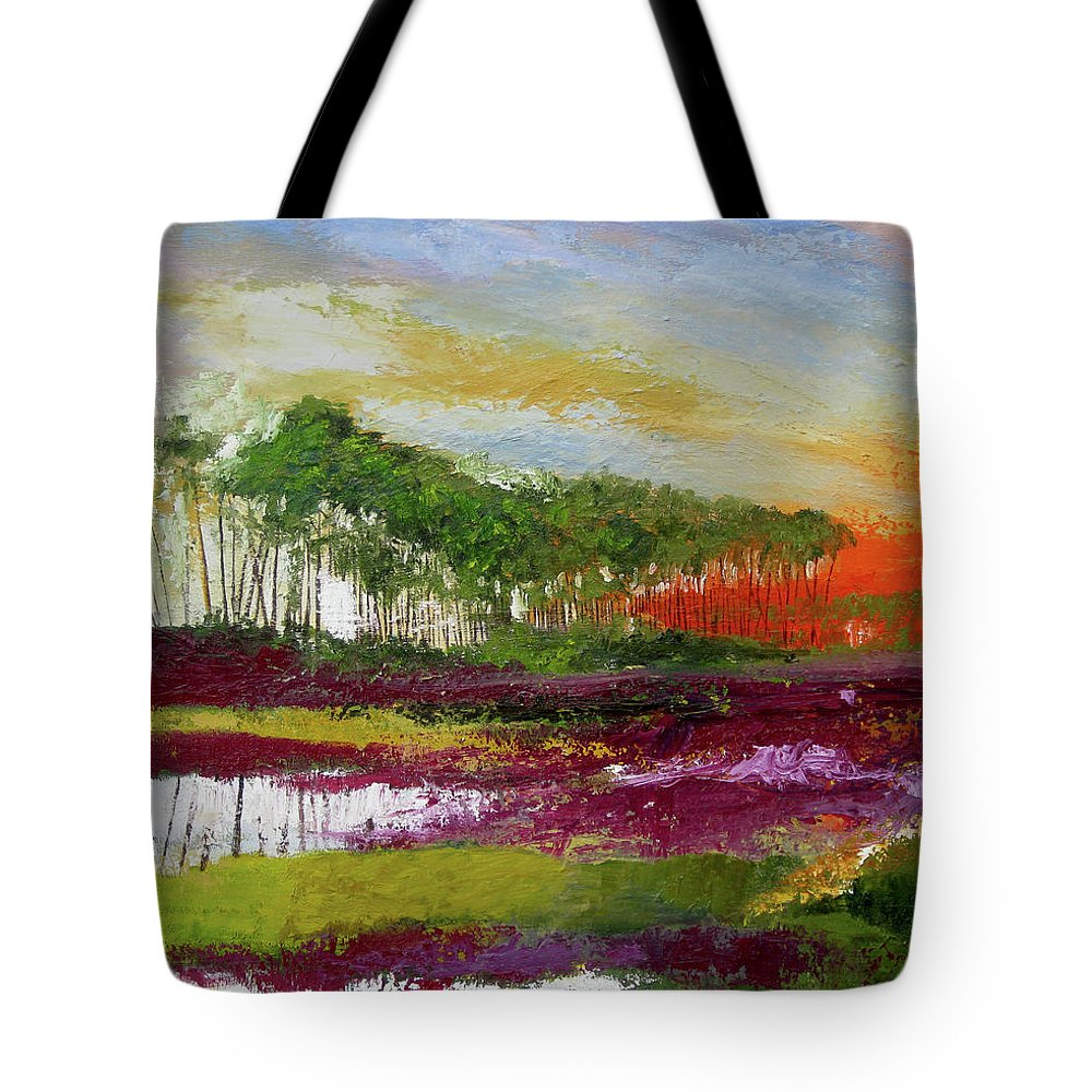 Assateague Tote Bag featuring the painting Assateague Sunset by James Gallagher