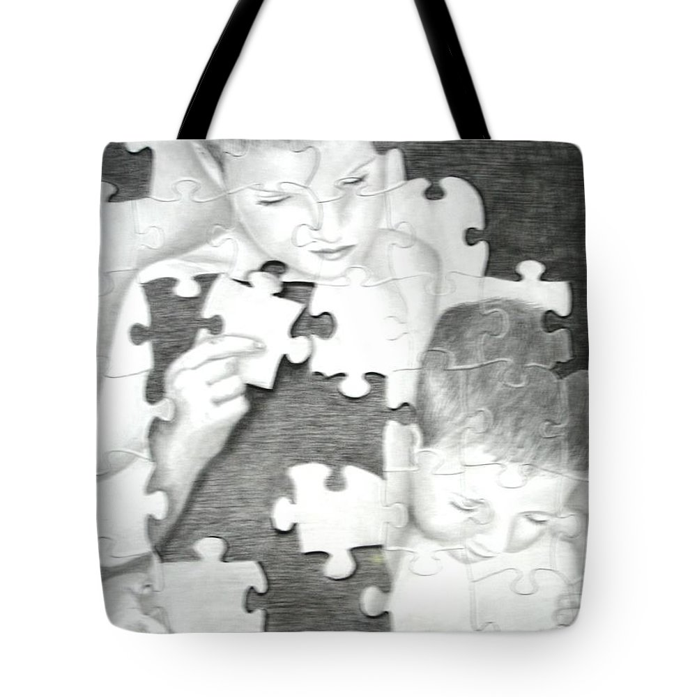 Brothers Tote Bag featuring the drawing Assembly Required by Melissa Wiater Chaney
