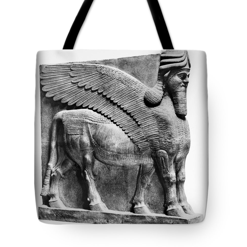 883 B.c Tote Bag featuring the photograph Assyria: Bull Scultpure by Granger