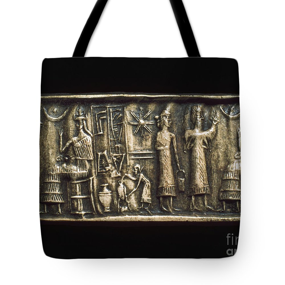 2000 B.c. Tote Bag featuring the photograph Assyrian Cylindrical Seal by Granger