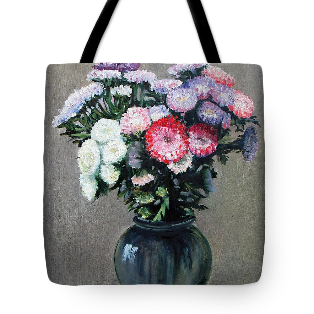Flowers Tote Bag featuring the painting Asters by Paul Walsh