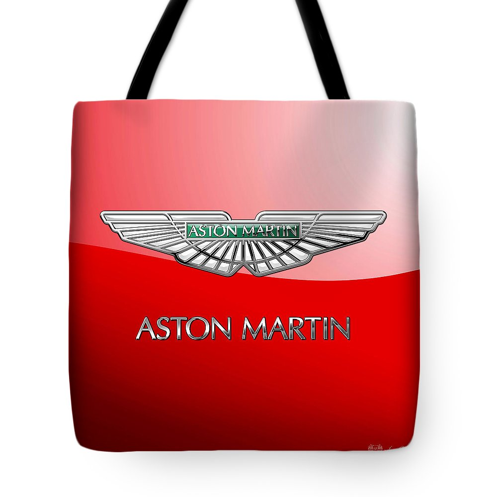 Wheels Of Fortune� Collection By Serge Averbukh Tote Bag featuring the photograph Aston Martin - 3 D Badge on Red by Serge Averbukh