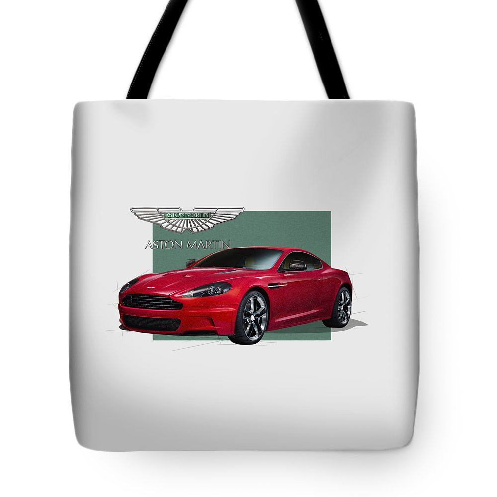 �aston Martin� By Serge Averbukh Tote Bag featuring the photograph Aston Martin D B S V 12 with 3 D Badge by Serge Averbukh