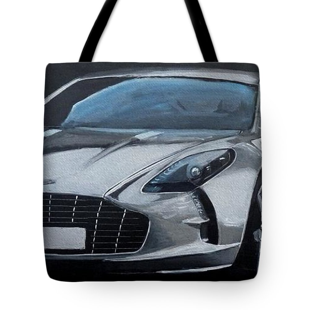 Car Tote Bag featuring the painting Aston Martin One-77 by Richard Le Page