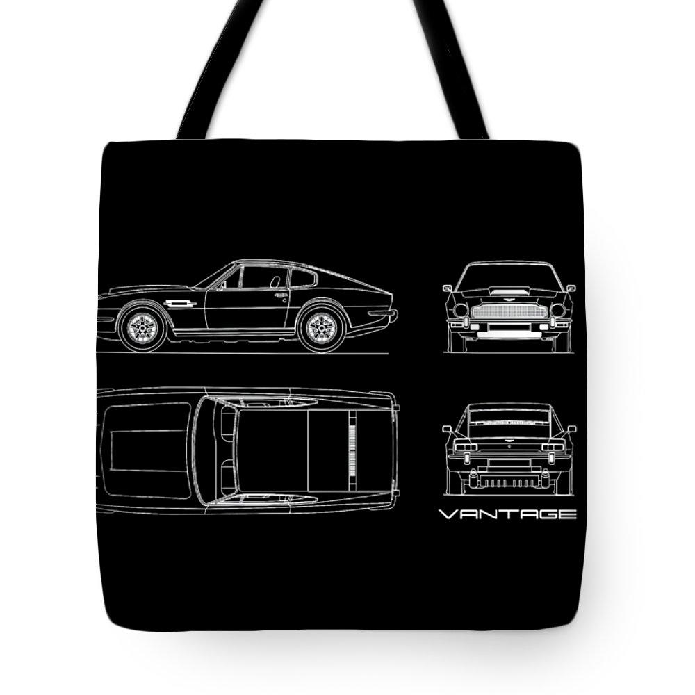 Aston Martin V8 Vantage Tote Bag featuring the photograph Aston Martin V8 Vantage Blueprint by Mark Rogan