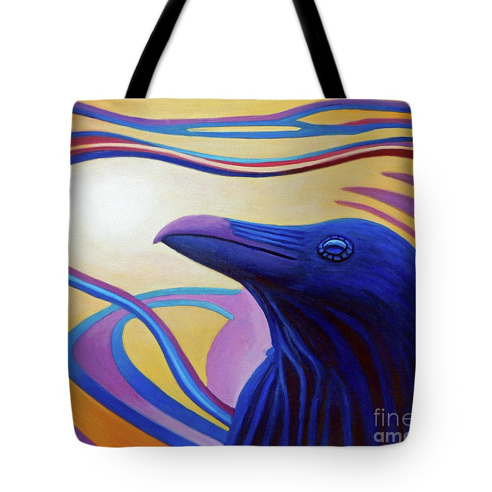 Raven Tote Bag featuring the painting Astral Raven by Brian Commerford