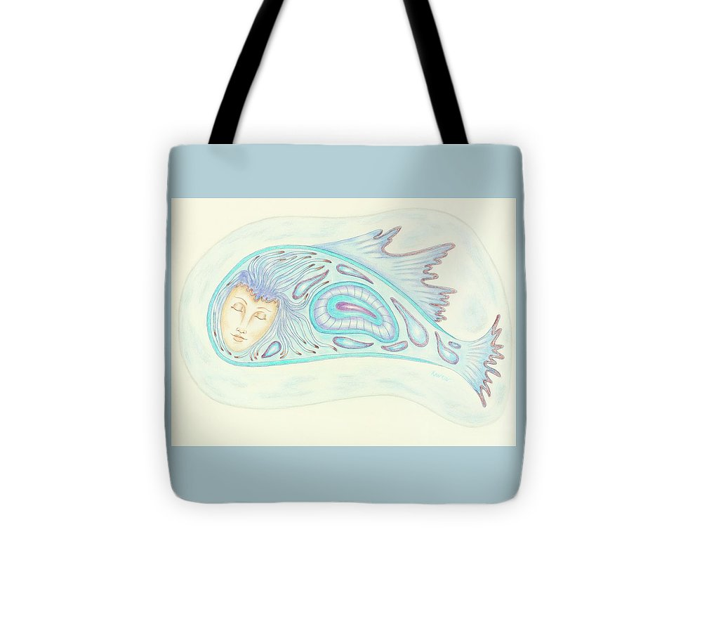 Woman Tote Bag featuring the drawing Astral Traveler - From A Dream Image by K S Rankin