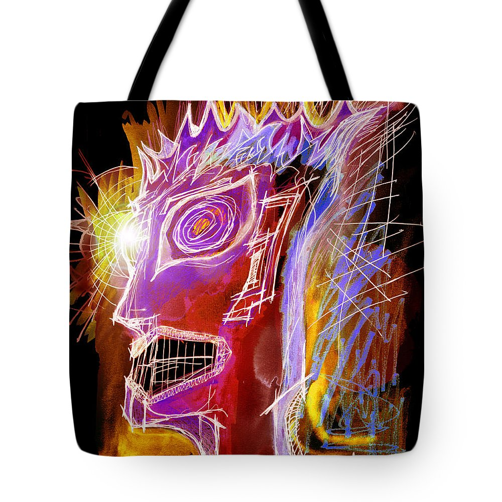 Tote Bag featuring the drawing Astroface Firehead by Cullen