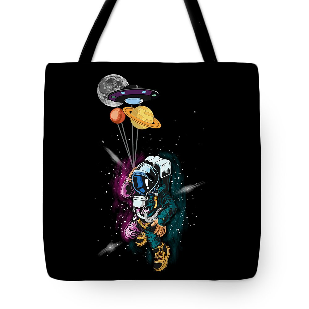 Galaxy Tote Bag featuring the digital art Astronaut Ufo Balloon Outer Space Shuttle by Thomas Larch