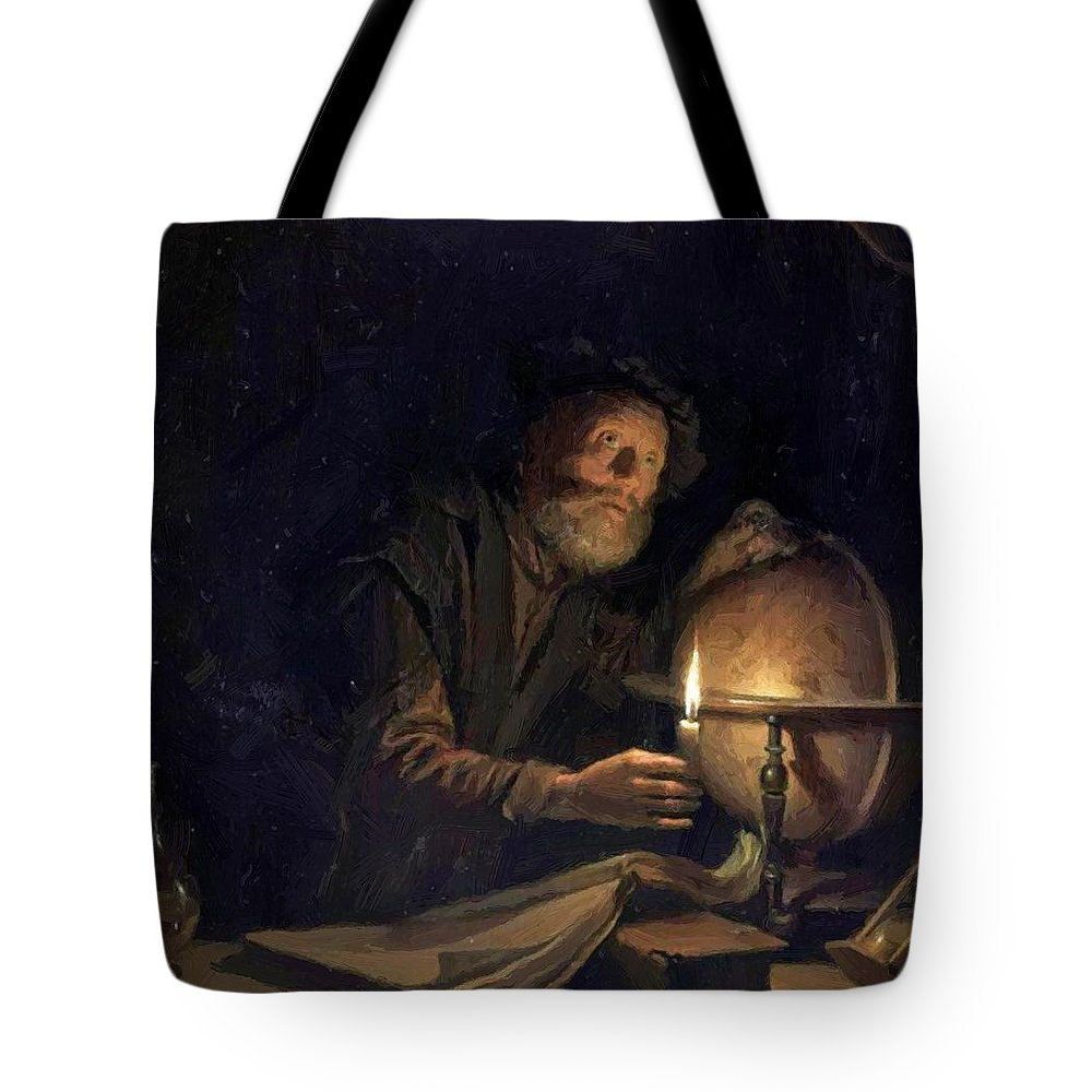 Astronomer Tote Bag featuring the painting Astronomer 1655 by Dou Gerrit