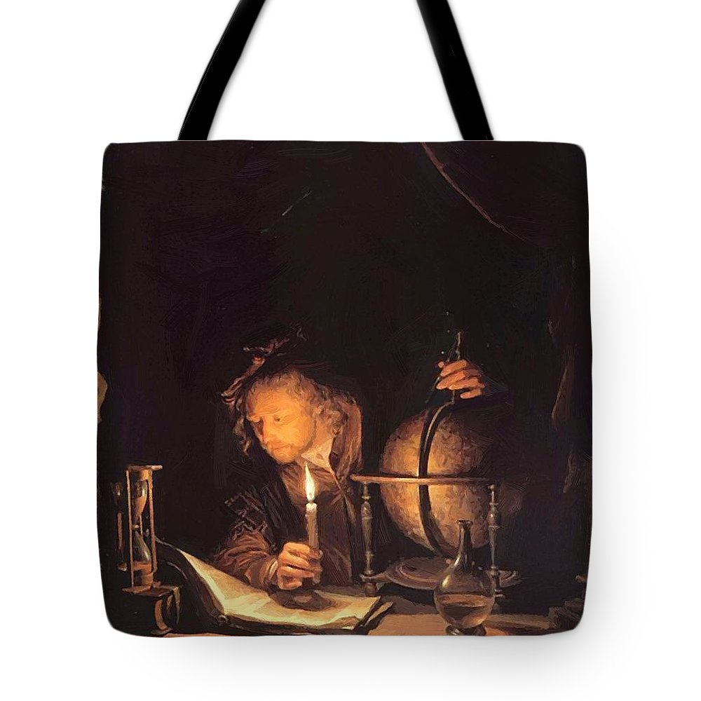 Astronomer Tote Bag featuring the painting Astronomer By Candlelight by Dou Gerrit