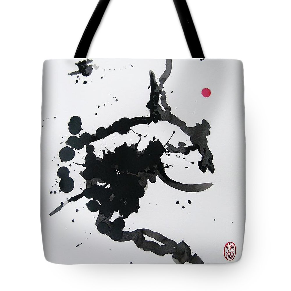 Abstract Tote Bag featuring the painting Asymmetry Inspires Grace by Roberto Prusso