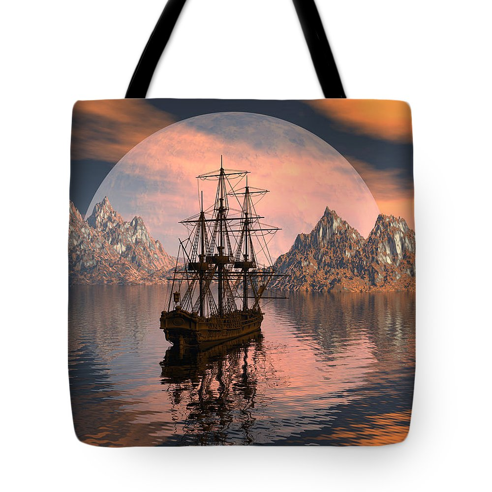 Bryce 3d Digital Fantasy Scifi Windjammer Sailing Tote Bag featuring the digital art At Anchor by Claude McCoy