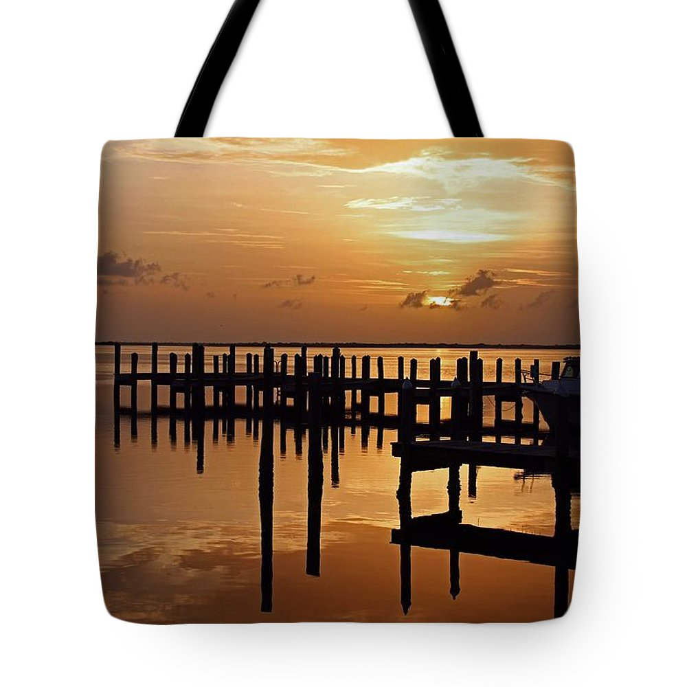 Pier Tote Bag featuring the photograph At Day's Close by Michiale Schneider