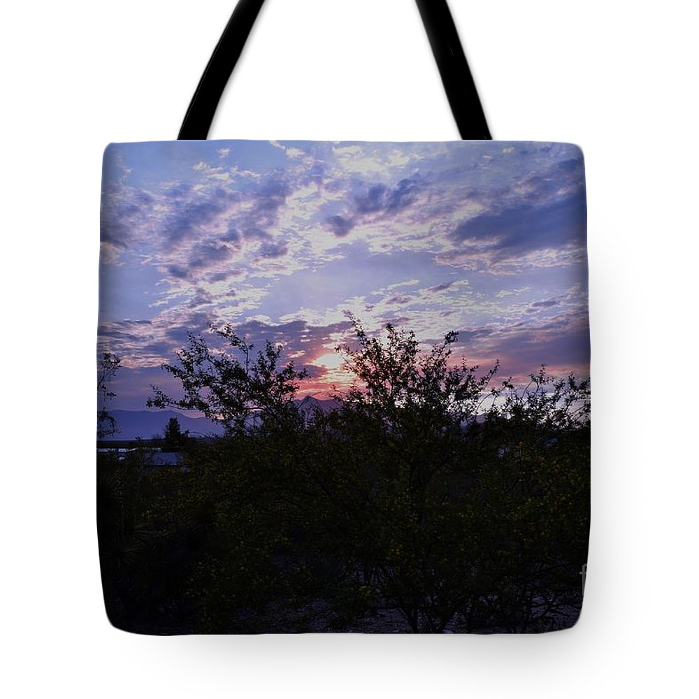 Arizona Sunrise Tote Bag featuring the photograph At First Light by Janet Marie