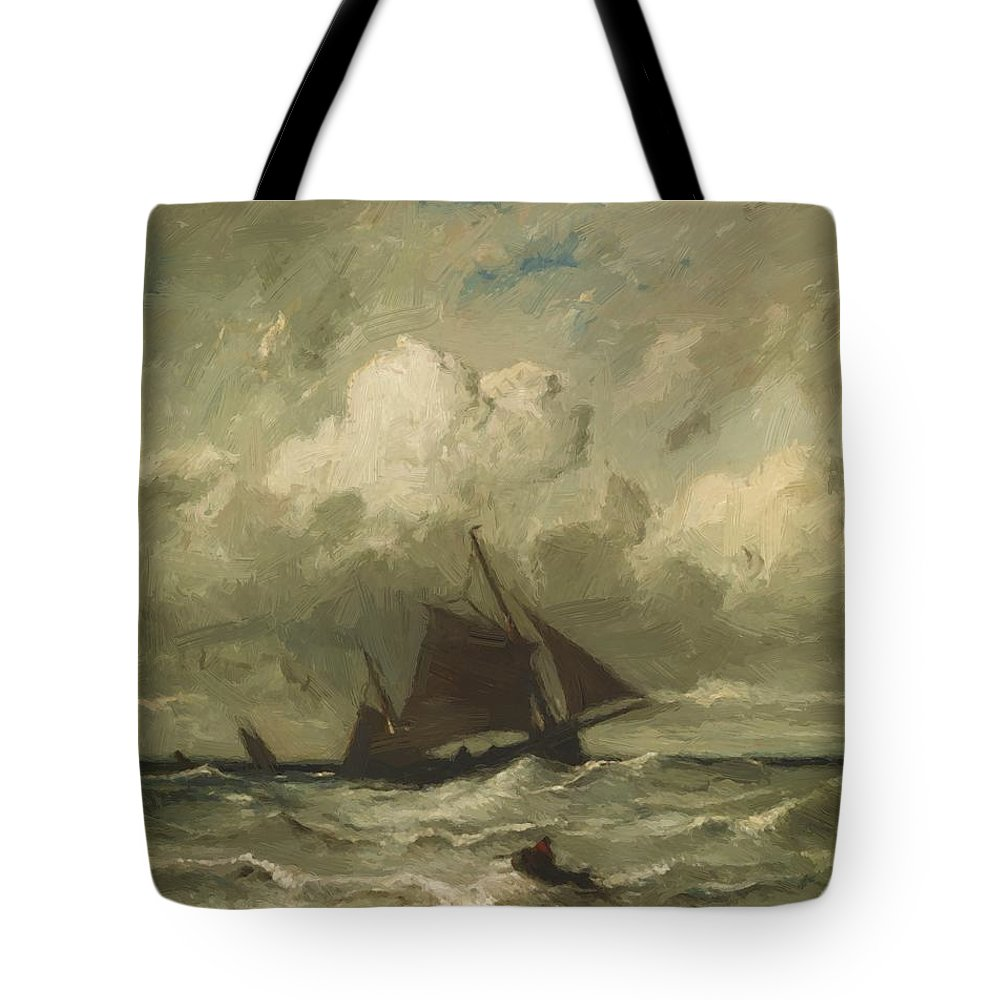 At Tote Bag featuring the painting At Sea 1870 by Dupre Jules