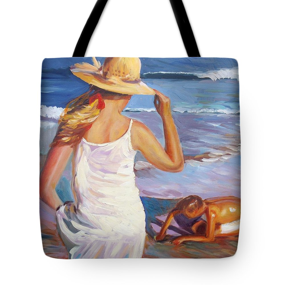 Beach Tote Bag featuring the painting At The Beach by Elena Sokolova