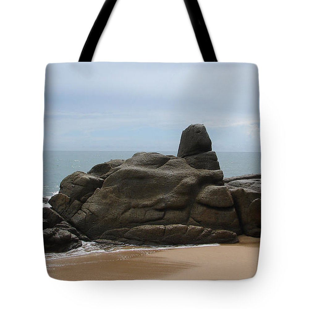 Ocean Sky Sand Rock Tote Bag featuring the photograph At The Beach by Luciana Seymour