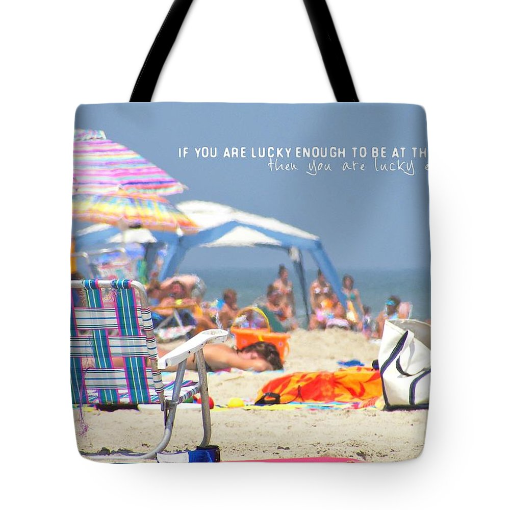 Beach Tote Bag featuring the photograph At The Beach Quote by JAMART Photography