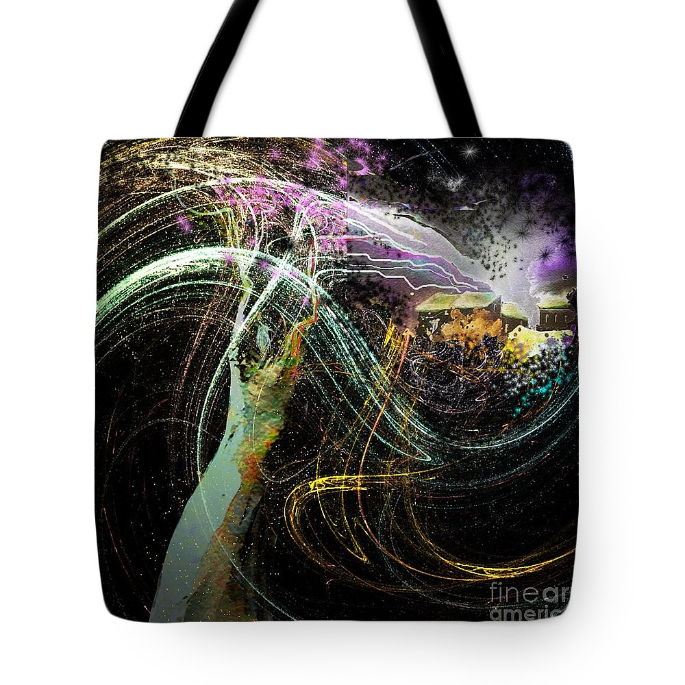 Fantasy Tote Bag featuring the painting At The End Of The Cosmos by Miki De Goodaboom