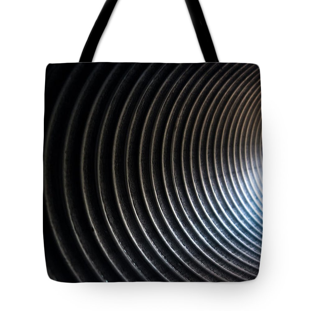 Black And White Tote Bag featuring the photograph At The End Of The Tunnel by Hannah Breidenbach