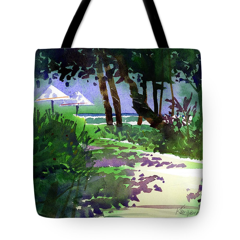 Beach Path Tote Bag featuring the painting At The Hale Koa by Lee Klingenberg
